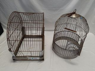Pair of metal bird cages without bottoms