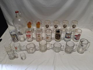 Beer glass lot with steins from all over Canada