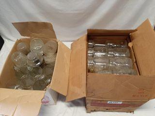 Box of Mason jars and box of drinking glasses