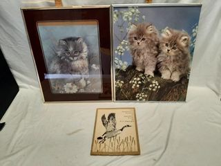 Pair of kitten prints and gold etch prints