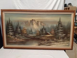 large oil on canvas framed landscape painting by
