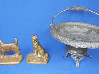 Brass Dog Bookends And Decorative Plate Stand