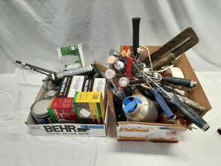 Handyman lot with light bulbs  caulking gun with