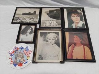 Vintage Framed Photographs And Decorative Plate