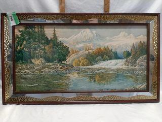 Framed And Matted landscape Art 32 1 4  X 18 1 4