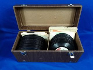 assorted 45 records in case