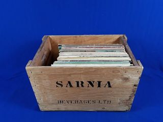 Sarnia beverage wood box and containing records