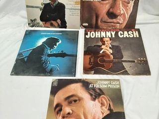 Johnny Cash record albums in poor to fair