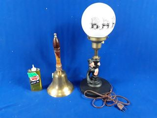3 items bar light old oil can   brass bell