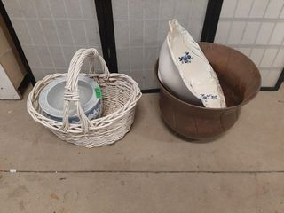 Basket  Ceramic Bowls And Metal Planter