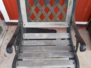 Wrought iron and wood chair 23  x 22  x 32