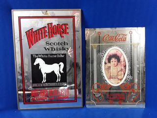 2 mirrored signs  Coca Cola sign and white