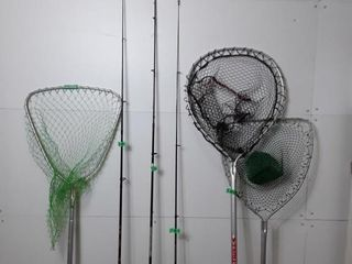 3 fishing poles and 3 Nets