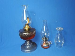 2 glass oil lamps with extra shade