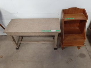Wood piano bench and side table
