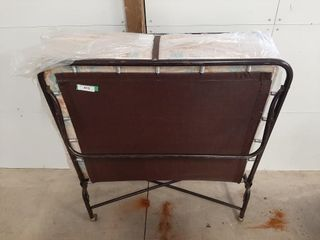 Metal fold out cot with mattress 77  x 39