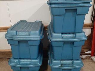 Six plastic tubs and five lids 36  x 21  x 16