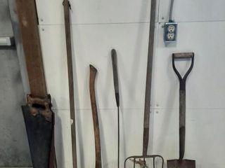 Hand saws  axe  rakes  shovel  etc