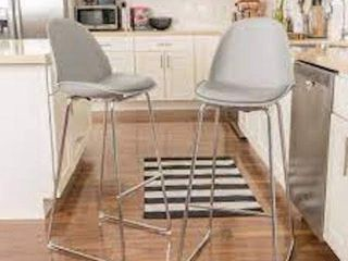 CONTEMPORARY GREY BAR CHAIR 32  SET OF 2