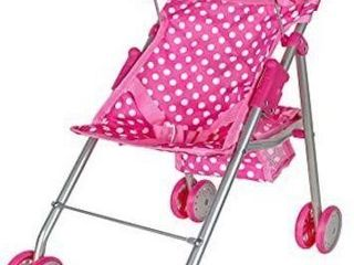 PINK POlKA DOT DOll STROllER  1 WHEEl MISSING