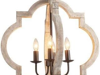 VIlUXY FARMHOUSE 4 lIGHT WOOD CHANDElIER