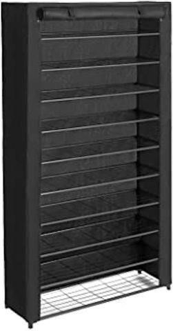 SONGMICS 10 TIER SHOE RACK WITH BlACK COVER  39 X