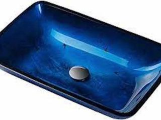 KRAUS IRRUPTION BlUE GlASS BATHROOM SINK  22 X 14