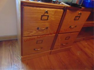 2 wood 2drawer file cabinets 16  x 17  x 28