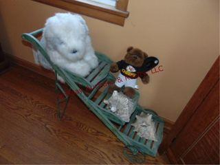 Wood 3 tier display cart w shells  stuffed animals