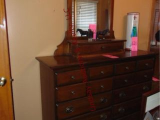 Wood 10drawer dresser w  mirror 54 x18 x41