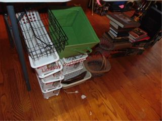 Group under table  baskets  plastic containers