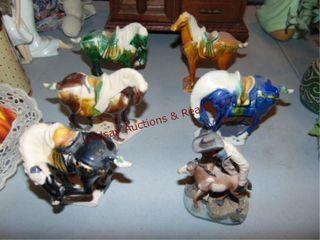 6 porcelain horses