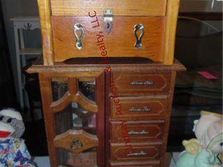 1 Jewelry box   small wood trunk 12 x 7 x 16