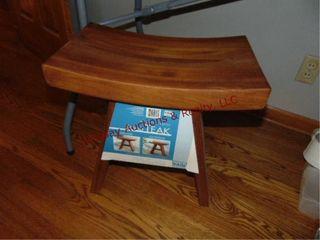 Solid teak vanity stool 18 x 11 5  x 18