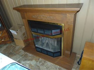 Faux gas fireplace mantel  Buyer must unhook