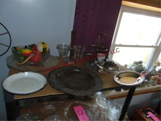 Approx 13pcs of misc metal glass items SEE PICS