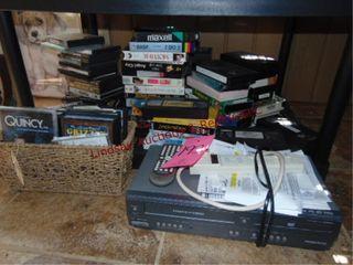 20  dvd vhs tapes   Magnavox dvd vhs player w