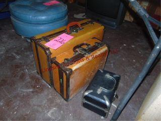 3 various size vintage suit cases w  misc fabrics