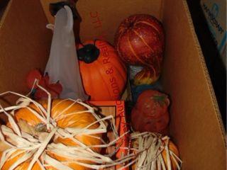Box of Halloween decor