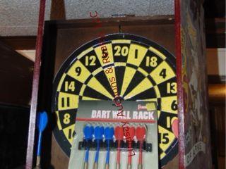 Foldable dart board with darts