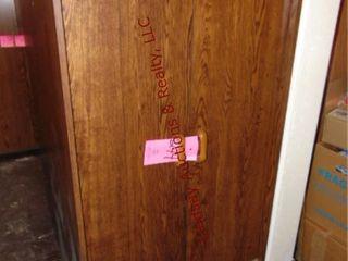 Wood 2 door storage closet 29 x 23 5 x 60