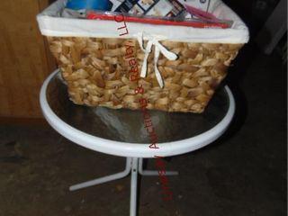 20  metal table w  glass top   basket of various