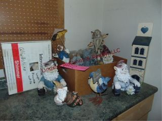 Group of yard art  gnomes  fairy  rabbits   other
