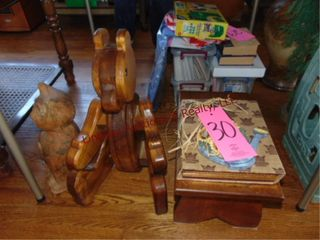 Group w  wood foot stool  wood bear    other