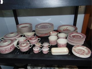 Group of dishes  red   white pattern  SEE PICS