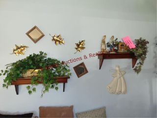 Group of decor items  greenery  statues   other