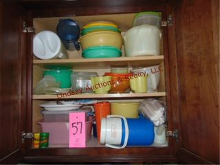 Group in cabinet  misc food storage containers