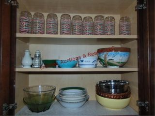 lot in cabinet  glasses  bowls  S P shakers