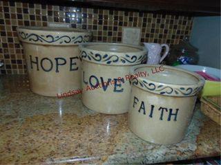 3 crocks  Hope 11 5  love 10    Faith 8