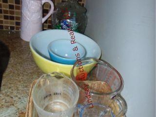 Group  Pyrex mixing bowls  FireKing measuring cups